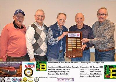 Masters_2019-2nd Event Winner, Team Biehn, Burlington Curling Club